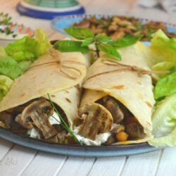 Piadine vegetariane agli champignon grigliati